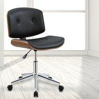 回転オフィスチェア、人工レザーボタン張り張りの座席、クロムベース、キャスター、頑丈なスタイリッシュな家具