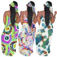 Yaz Kravat-Boya Baskılı kadın Maxi Elbise ile Başörtüsü Takım Elbise Moda Tek Omuz Kolsuz Kız Flora Elbiseler + Şapkalar İki parçalı Kısa Etek Setleri G64VW59