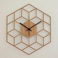 Wall Clocks Modern Home Decor Clock Bedroom Large Office Gift Hexagonal Silent Bamboo Wood Geometry Battery Operated Quartz