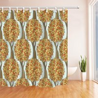 Shower Curtains Plant Autumn Tree Curtain Lovely Yellow Orange Brown Trees Leaves Pale Green Bathroom