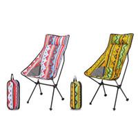 Visserijaccessoires Etnische stijl Draagbare Vouwen Maanstoel Outdoor Camping Fishing Home Rugleuning Kruk Zetel Lazy Beach Leisure