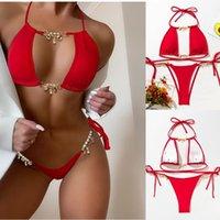 Women's Swimwear ITranyee Red Halter Bikini Set For Women Metal Chain Stitching Micro Bathing Suit Swimsuit Brazilian Sexy Biquini 2021