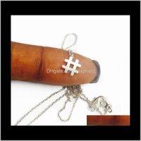 Кулонные кулоны Ювелирные изделия Drop Доставка 2021 10 шт. - N128 Hashtag Простой Первоначальный знак Модный символ # Ожерелья Типография Буква Музыка