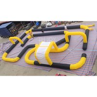 free air ship to door, 15x10m yellow inflatable car race track, go kart track outdoor
