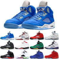 Atacado Jumpman 5 5s Men Sapatos de Basquete Bluebird Raging Bull Quai 54 Antracite Fogo Vermelho Camurça Preto Pro Estrela Mens Treinadores Sports Sneakers Tamanho 7-13