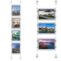(5Unit / colonne) A4 Suspension de la suspension frontale magnétique simple face à la fenêtre de la fenêtre de bureau de l'immobilier publicitaire