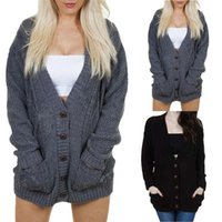 Women's Sweaters Thick Warm Women Knitted Sweater Jacket Cardigan Fashion V-Neck Buttons Casual Knit Coat Female Cardigans Outerwear