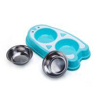 Dog Applyel CAT Двухместный Pet Bower Нейтральный пластик + нержавеющая сталь Съемная моющаяся двойная еда
