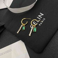 Simple new K gold advanced emerald crystal earrings for women