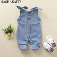 Nashakaite Baby Girl Ropa Hombro Vendaje Jeans Manejos Pocket Deco Denim Lindo Denim Born Surming 210727