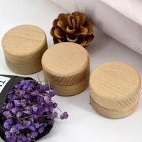 خشب الزان صغير جولة صناديق التخزين الرجعية خمر خاتم مربع لحضور حفل زفاف مجوهرات خشبية الطبيعية zze5640