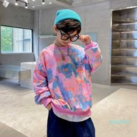 Kids O-Neck Sweatshirt for Boy Tie-Dye Print Causal Coat For Spring Autumn Children Long Sleeve Cotton T Shirt For Boy Age 5-14T G0917