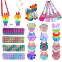 DHL Fidget Toys Sensory Fashion Sac Kid Poussoir Bubble Rainbow Anti-stress Enfants éducatifs et adultes Decompression jouet