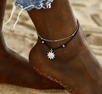 Vintage Multiple Layers Anklets for Women BLACK Sun Pendant Charms Rope Chain Beach Summer Foot Ankle Bracelet Jewelry