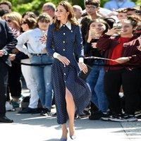 Günlük Elbiseler Kate Middleton Moda İlkbahar Sonbahar Kadınlar Yüksek Kalite Retro Zarif Uzun Kollu Polka Dot Parti Ofis Gömlek Elbise
