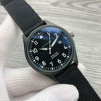 2021 роскошные новости мужские часы автоматической механической нержавеющей стали черные кожаные простые 41 мм пилоты часы Mark XVIII открытый IW327012