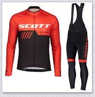 2021 Pro Scott Team с длинным рукавом Велоспорт Джерси набор Мужчин Дышащие 3D мягкие нагрудники брюки на горных велосипедах одежда велосипеда спортивная форма Y2104105