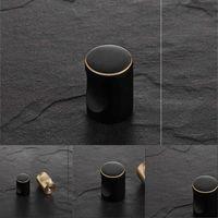 Muñeca de gabinete negra de latón macizo Muebles de muebles Cocina Cocina Dibujos de cajón Tirador Manija al por mayor Muebles Accesorio de hardware 486 V2