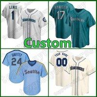 시애틀 맞춤형 24 ken Griffey JR Jersey Mariners 1 카일 루이스 야구 17 Mitch Haniger 34 Felix Hernandez 51 Ichiro Suzuki Robinson Cano