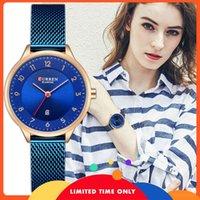 Ücretsiz curren kadın saati mavi moda bileklik kuvars rahat lüks kadın kol saati
