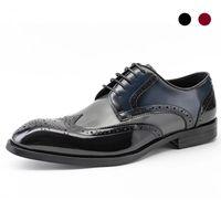 Derby Brogue Bridegroom Dress Formal Office Best Men Shoes Black Genuine Leather Original Designer Shoes Business