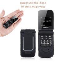 Unlocked Mini Flip-Handys Bluetooth-Zifferblatt-FM-Radio-Single-SIM-Karte BT 3.0 Synchronisieren Musik kleine Ersatztasche Tastatur-Telefon Magic Voice GSM-Mobiltelefon