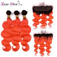 인간의 머리카락 Bulks luxediva 사전 컬러 ombre T1B / 오렌지 레드 짜는 묶음 전면 폐쇄 브라질 바디 웨이브와 번들