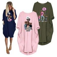 Propcm Artı Boyutu 5XL Kadın Giyim Elbise Uzun Kollu Elbiseler Süper Mama Baskı O Boyun Gevşek Cep Rahat Essentials Bahar Kulübü Parti