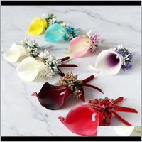 Decorative Wreaths Festive Party Supplies Home & Garden Drop Delivery 2021 Calla Lily Flowers Cor Pin Boutonniere Men Bracelet Bridesmaid Wed