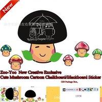 Send Boxed Chalk Cartoon Mushroom Head Blackboard Wall Stickers Home Decor Decoration For Kids Rooms waterproof removable 210420