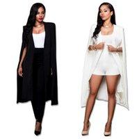 Women's Suits & Blazers S-2XL Long Blazer Women Jacket Cloak Wind Coat Poncho Trench Shawl Wrap Manteau Cape Outerwear Windbreaker Slit