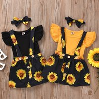 Baby Designer Clothes Girl Ruffle Sleeve Romper Sunflower Skirt Headband 3pcs Sets Toddler Suspender Skirt Suits Summer Baby Outfits 3318 Q2