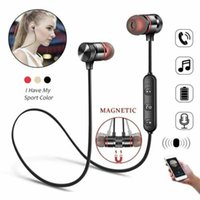 Wholesale Bluetooth Earphones Sports Neckband Magnetic Wireless Headset Stereo Earbuds Music Metal Headphones with Mic for Moblie Phones with packa