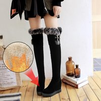 Boots Plus Size 34-43 Women Over The Knee Wedges High Heel Punk Long Fur Height Increasing Shoes Winter Snow
