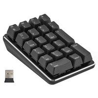 2.4G Kablosuz Mekanik Sayısal Tuş Takımı Mavi Anahtarı Oyun 21 Tuşları Taşınabilir Genişletilmiş Düzen Siyah Klavyeler