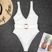 Women's Summer Outdoor Swimsuit Solid Color Sexy V-neck One-piece Swimwear with Belt and Amber Loop One-pieces Swim Jumpsuits Girls Bathing Suit
