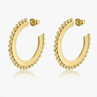 Pope Europe And America Geometric Stud Earring Wire Ear Loop For Woman Fashion Stainless Steel 14k Gold Plated Accessory