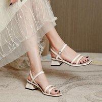 여성 샌들 2021 chunky 힐 미드 페어리 스타일 패션 스퀘어 발가락 얇은 스트랩 여자 드레스 신발을위한 얇은 스트랩 로마 여름 하이힐