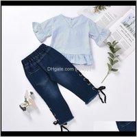 Sets Girls Clothing Set Infant Striped Short Sleeve Top Kids Designer Clothes Toddler Baby Outfits Hole Side Denim Pants Boutique 109 Cn2Zf