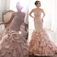 2022 Luxury Mermaid Wedding Dresses Bridal Gown Blush Pink Ruffles Sweetheart Neckline Beaded Crystals Sequins Lace Applique Custom Made Plus Size vestidos