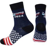 트럼프 2024 양말 미국 국기 별 줄무늬 코튼 스타킹 양말 미국 대통령 선거 트럼프 십대 중형 힙합 양말 선물 G94Fodx