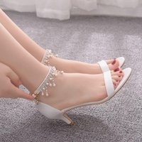 Sandals Women's high heels crystal queen, fashion summer with water-proof pearls shoes for party open sandals R6KE