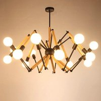 Modern Spider Shape 6 10  12 Wooden Arms Chandelier Magic Bean Lights For Room Suspension Luminaire Living Decoration Pendant Lamps