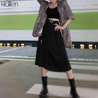 Klalien Moda Yüksek Bel Siyah MIDI Kadınlar Yaz Streetwear Rahat Bölünmüş Hem Asimetrik Uzun Etek Bayanlar