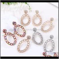 Jewelryztech Oval Metal Colorful Crystal Water Dangle Earrings Women Fashion Shining Rhinestone Long Pendientes Jewelry & Chandelier Drop De