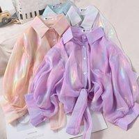 Shinning Sparkles Рубашки Женщины Половина Рукава Ударная Рубашка Привязанная Талия Сексуальные блузки для 2021 Осенние женские