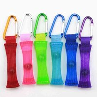 Carabiner clip marble mesh key ring braid mesh tube with glass ball stress relief fidget toys sensory finger fun desktop game kids adults bag pendant charms H4109ZN
