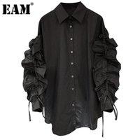 [EAM] Женщины черные рубцы рубль блуза отворота длинные слойки рукава свободная подходит рубашка мода прилив весна осень 2021 1dd3863 женские блузки