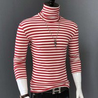 Men's T-Shirts Red striped shirts of men tall collar long sleeve tshirt fashion fine cotton fit t Autumn bottom clothing LXIH