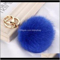 Keychains Fashion Aessories Drop Delivery 2021 8Cm Length Rabbit Fur Ball Cell Phone Car Keychain Pendant Handbag Key Chain Pompom Charm Keyr